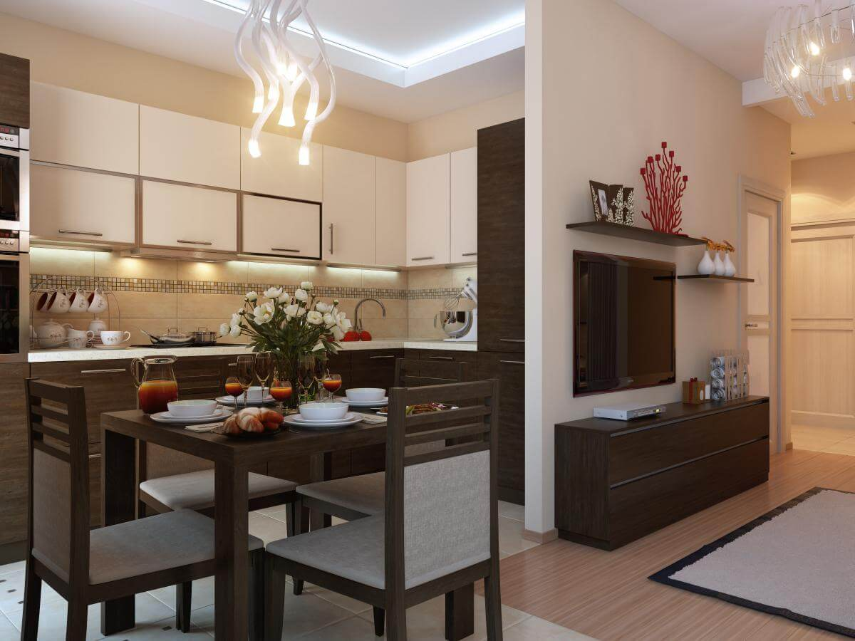 Интерьер однокомнатной квартиры - ТОП-60 фото дизайна 1 ...
