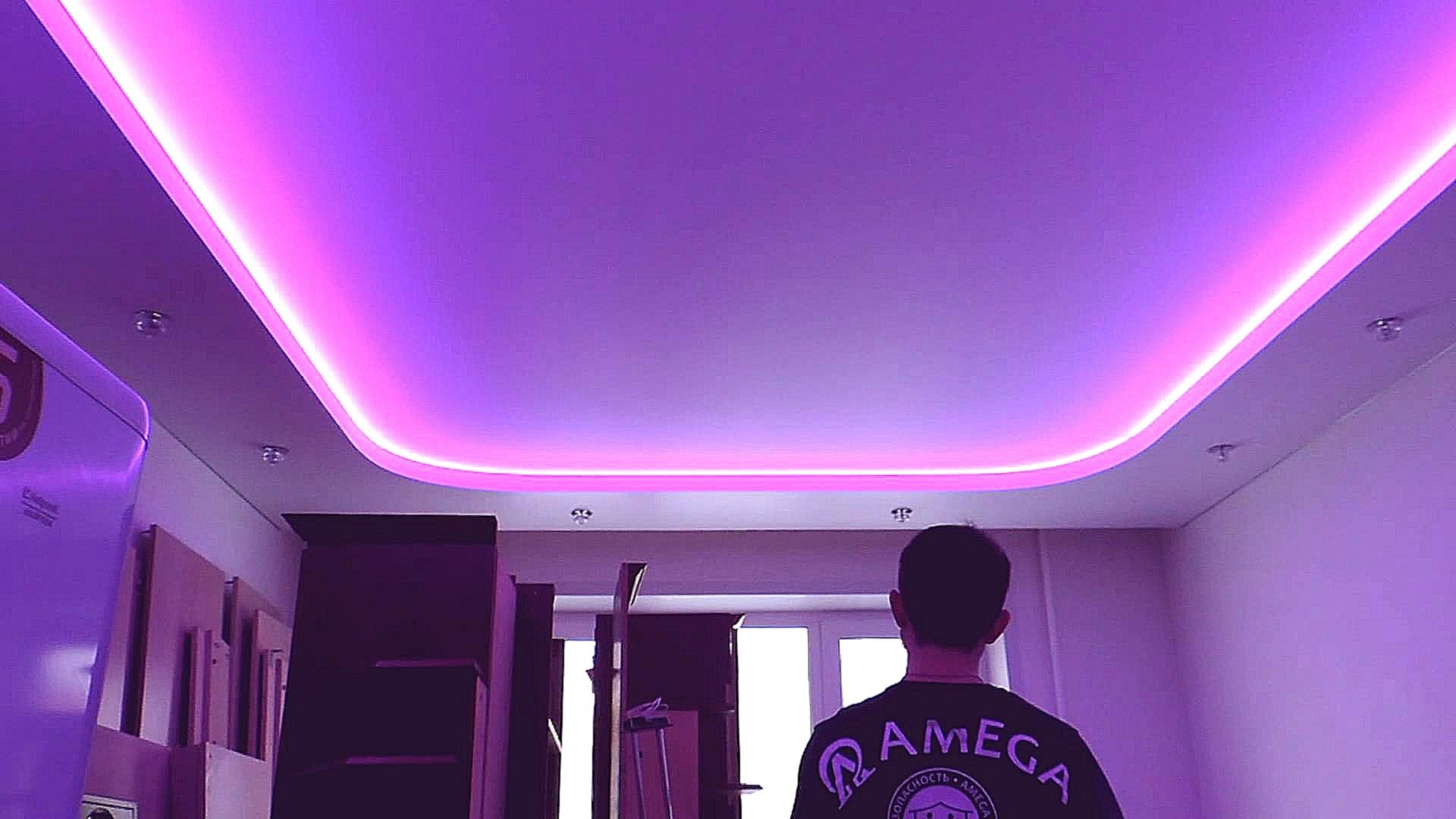 Как сделать подсветку на двухуровневый потолок