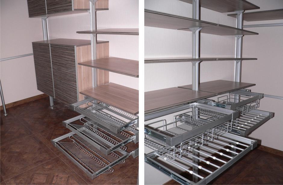 Стеллажи для гардеробной: сборные металлические стеллажные с.