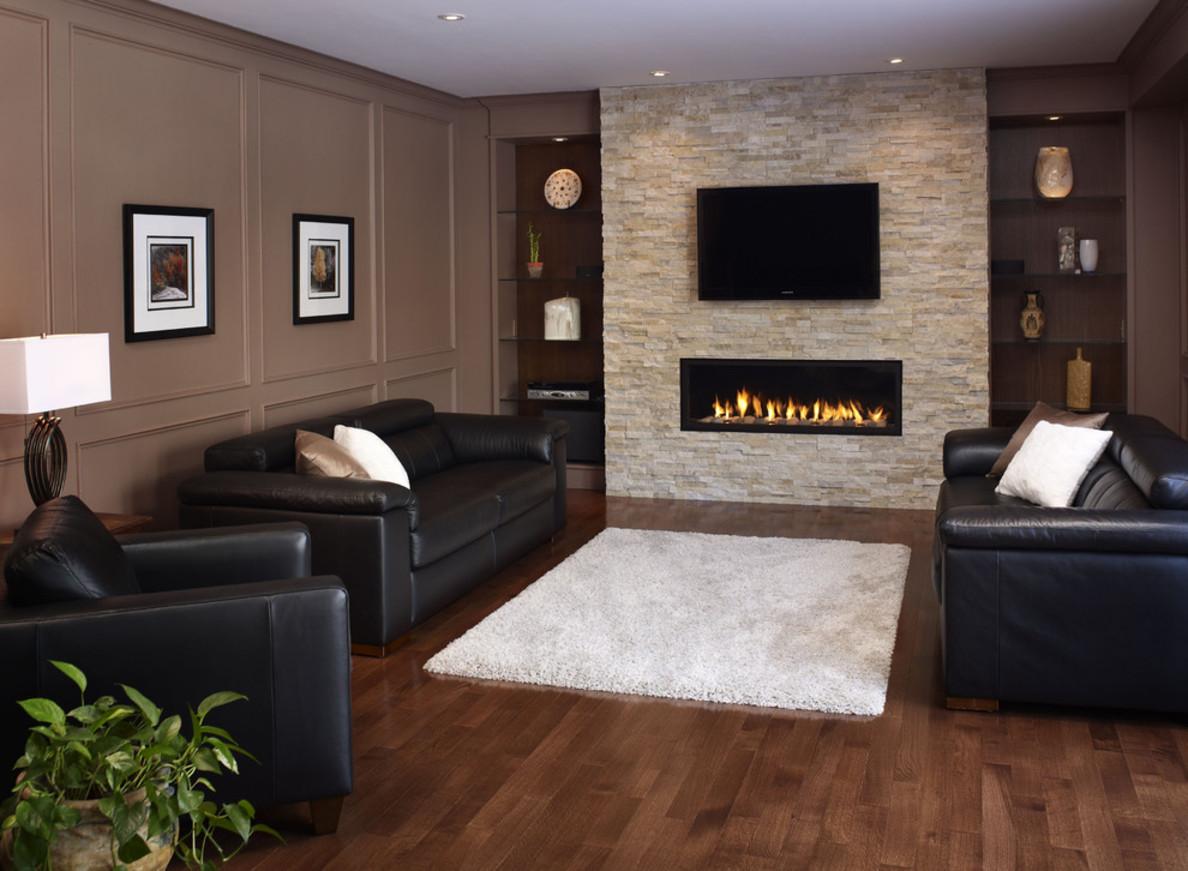 Электрокамин и телевизор в интерьере гостиной фото