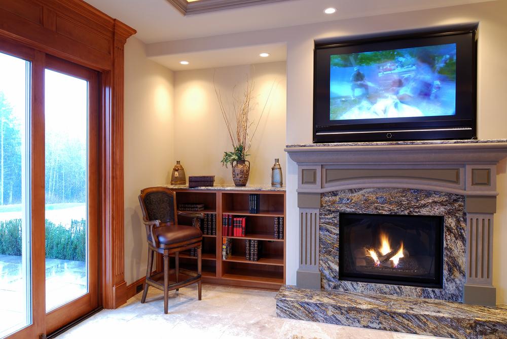 Фото каминов с телевизором в интерьере
