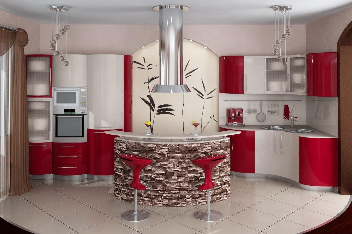 Кухня интерьер дизайн с барной стойкой