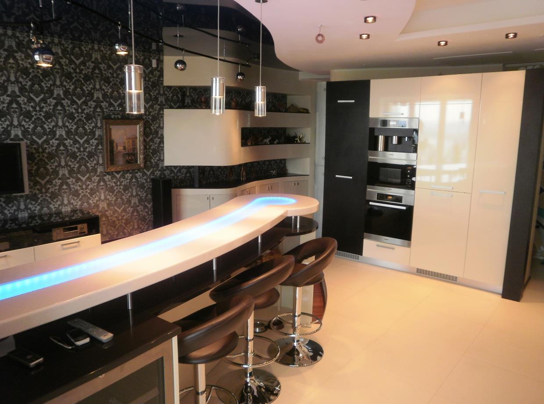 Барная стойка на кухне своими руками фото из гипсокартона с подсветкой