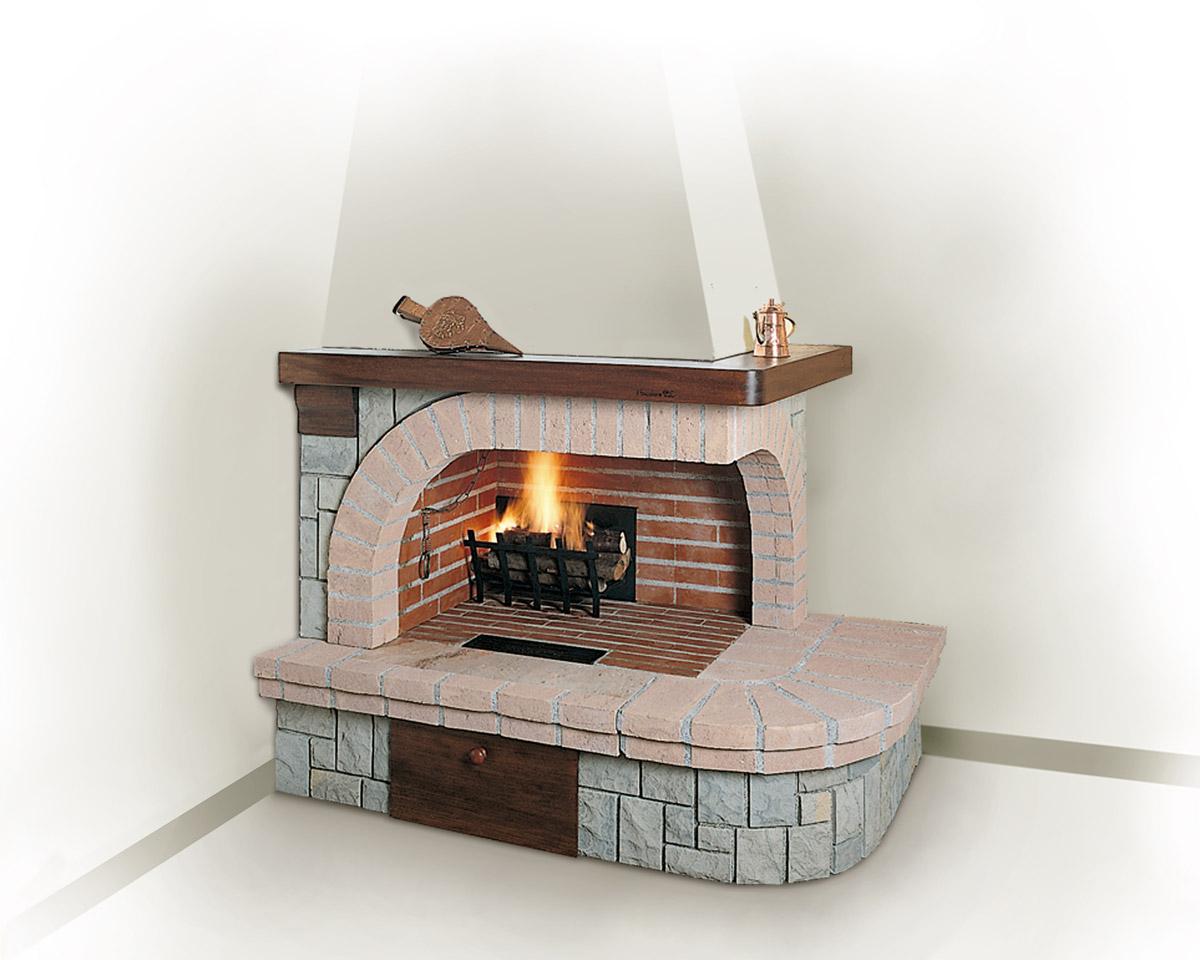 Угловой дровяной камин