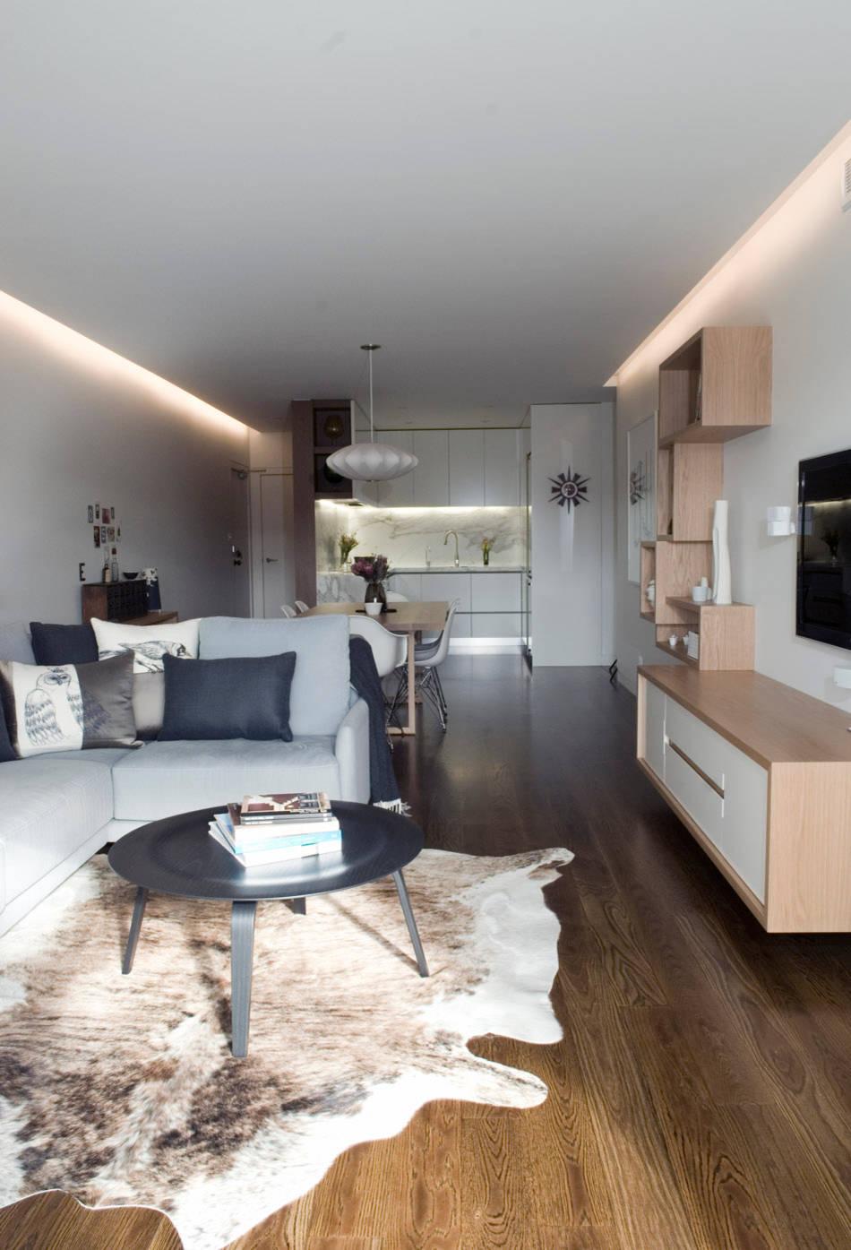 Дизайн длинной и узкой кухни-гостиной
