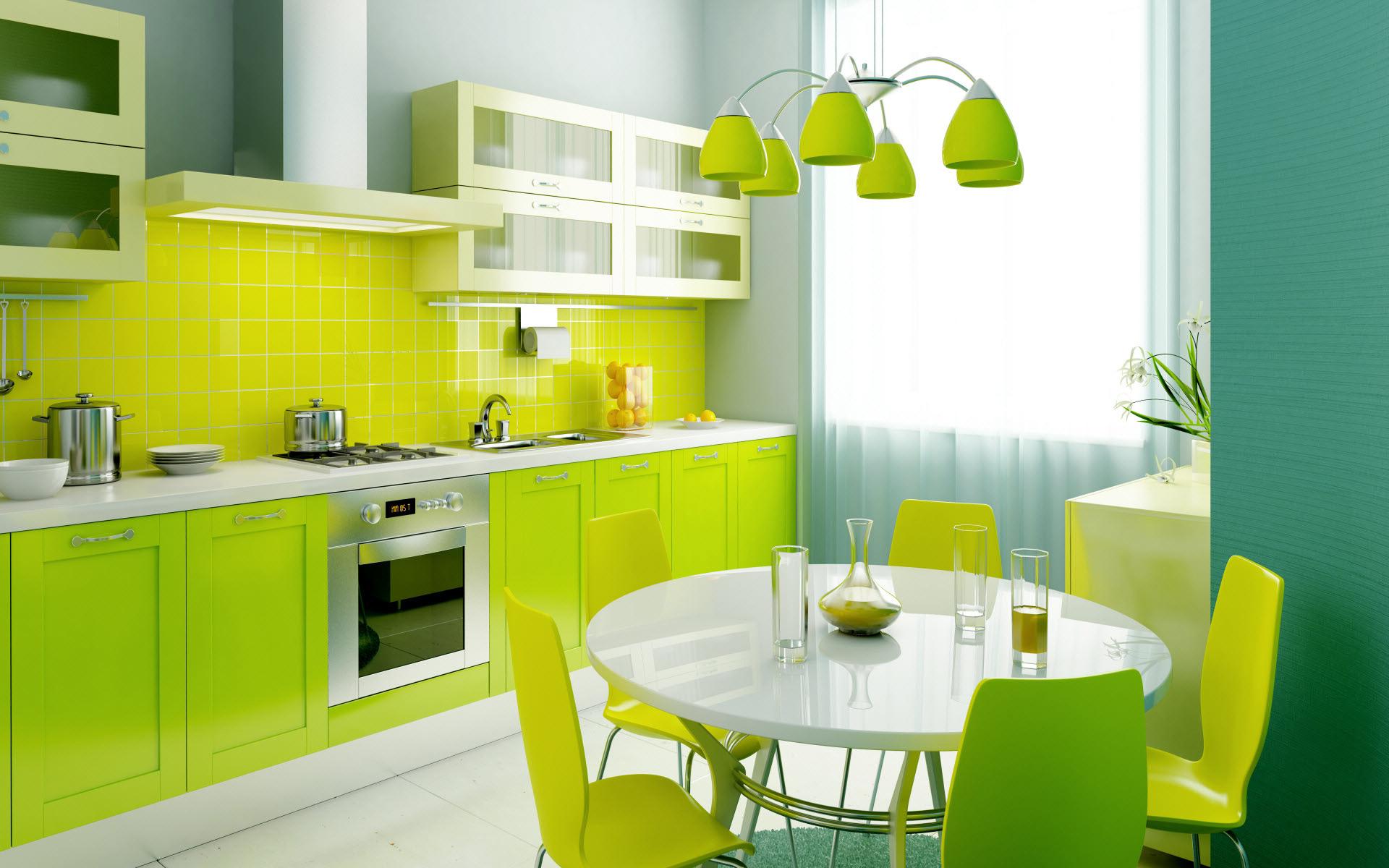 Кухня стена зеленого цвета