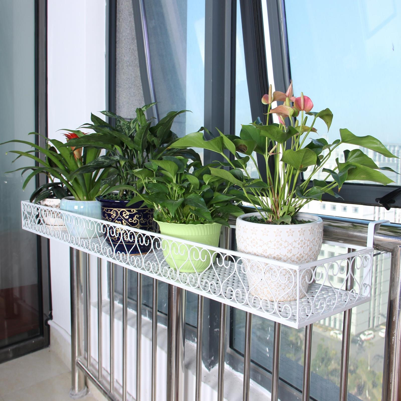 Shelves for flowers on the balcony - home decoration.
