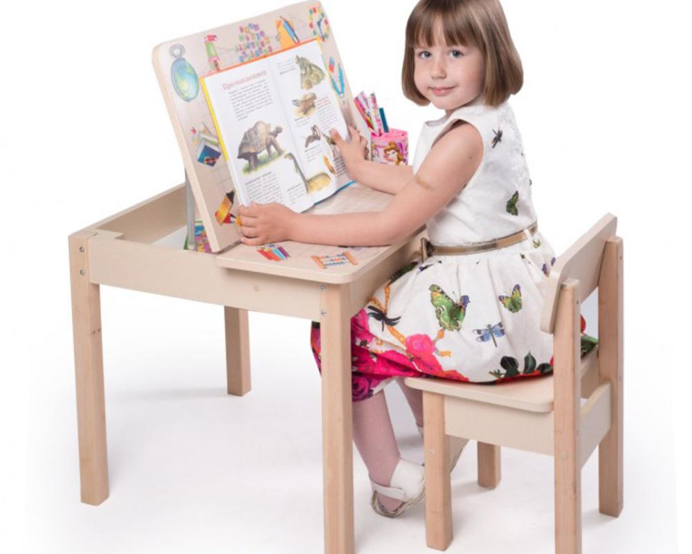 Детский стол-трансформер: письменный столик-мольберт со стулом для ребенка
