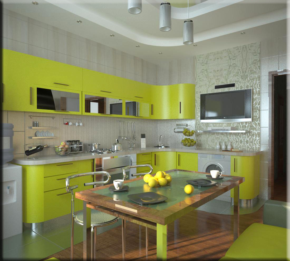Дизайн кухни с телевизором 16 м