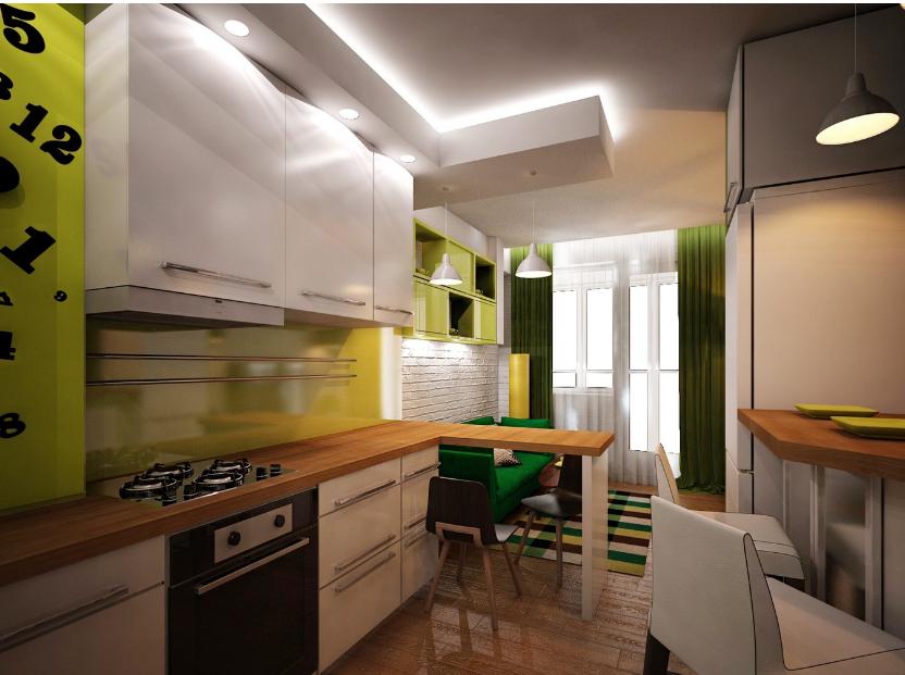 интерьер кухни-гостиной фото 16 кв.м