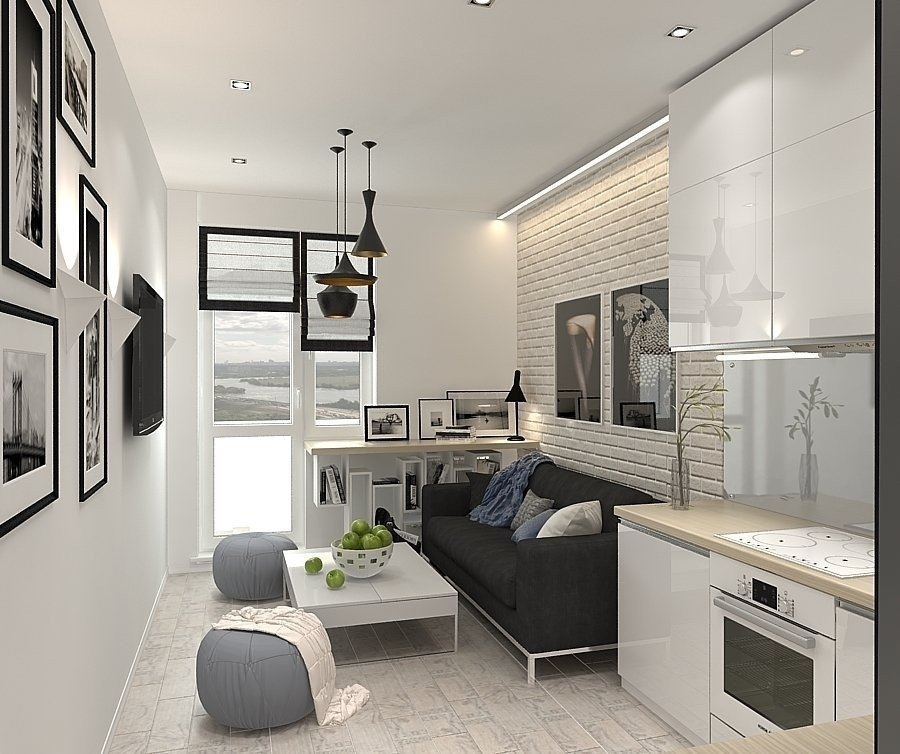 Дизайн кухни-гостиной 17 кв. м. (50 фото): интерьер ... искусственный камень в интерьере зала