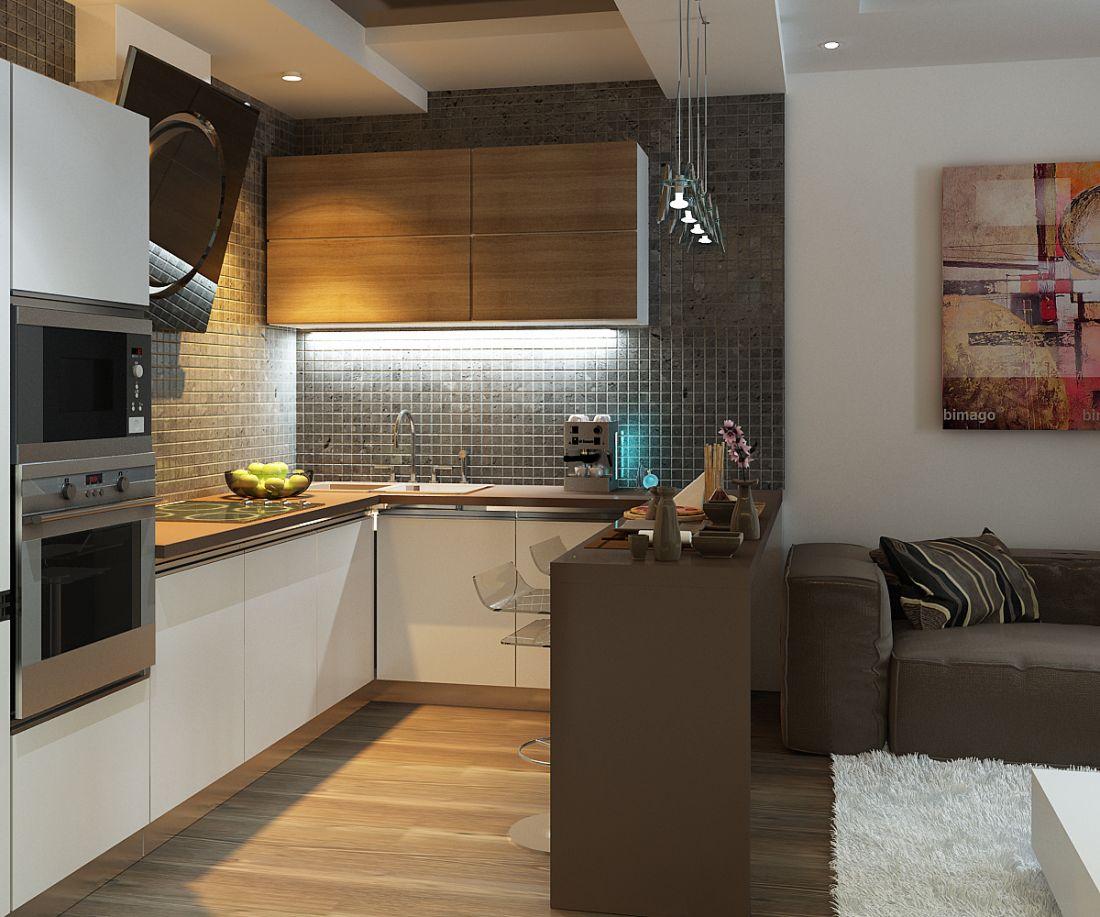 Дизайн кухни 15 м2 с диваном