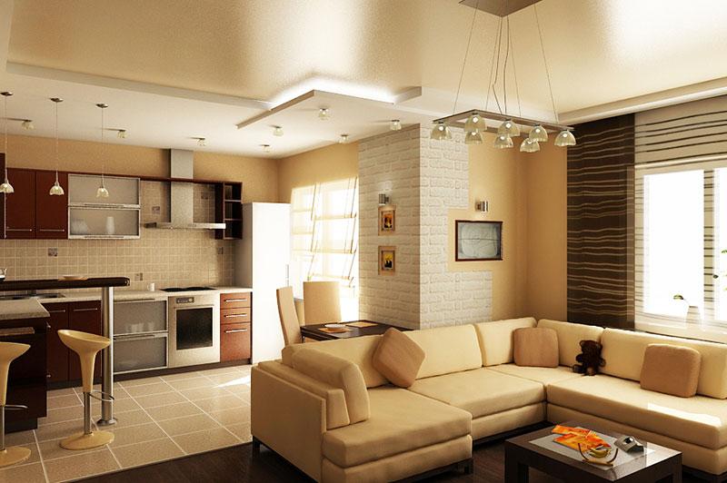 совмещение кухни и зала дизайн фото