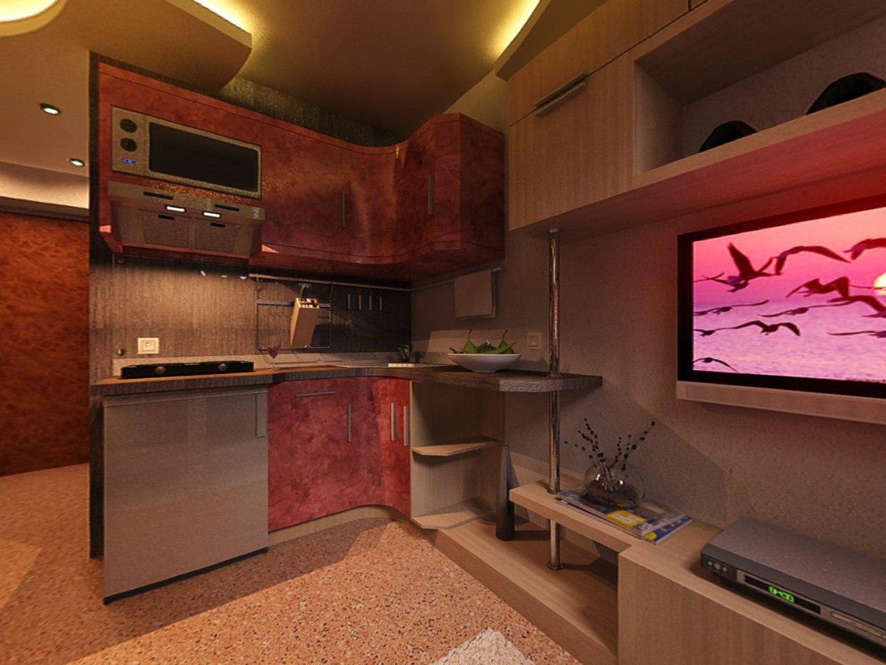 Кухня студия 23 кв м дизайн