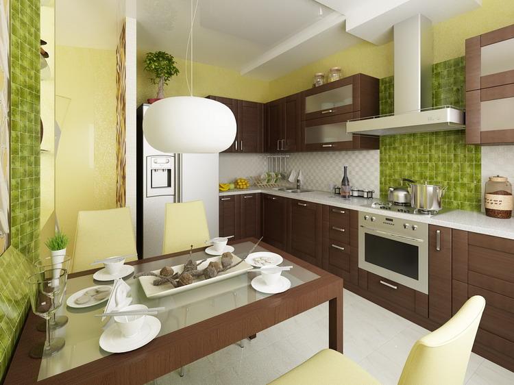 Дизайн кухни в коричнево-зеленых тонах