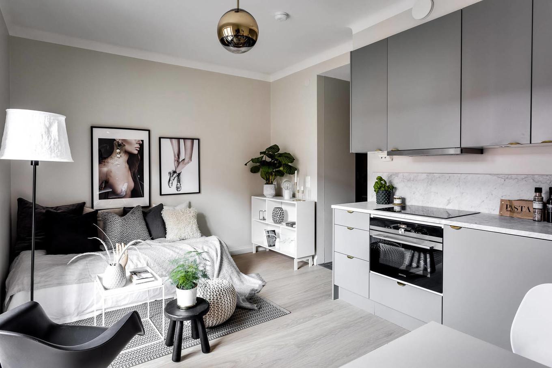 Дизайн комнаты-студии с кухней: зонирование и стили