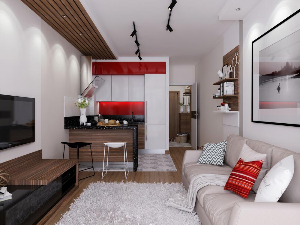дизайн студии 24 кв.м фото с балконом