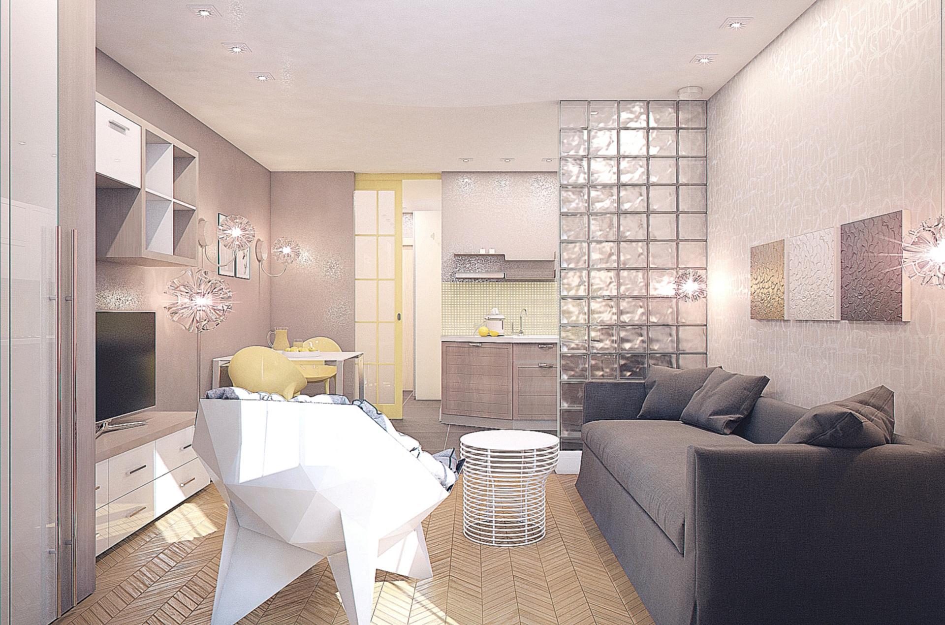 Белая иллюзия в дизайне квартиры-студии