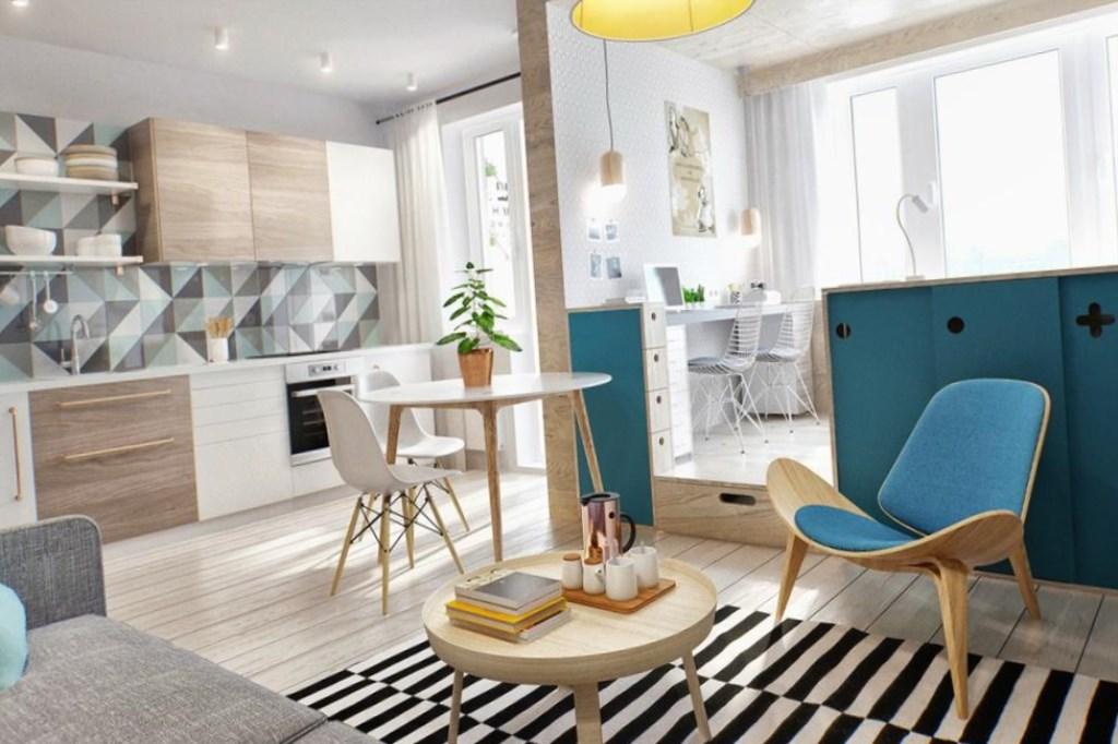 Интерьер дизайн маленькой квартир кухня студия фото 35