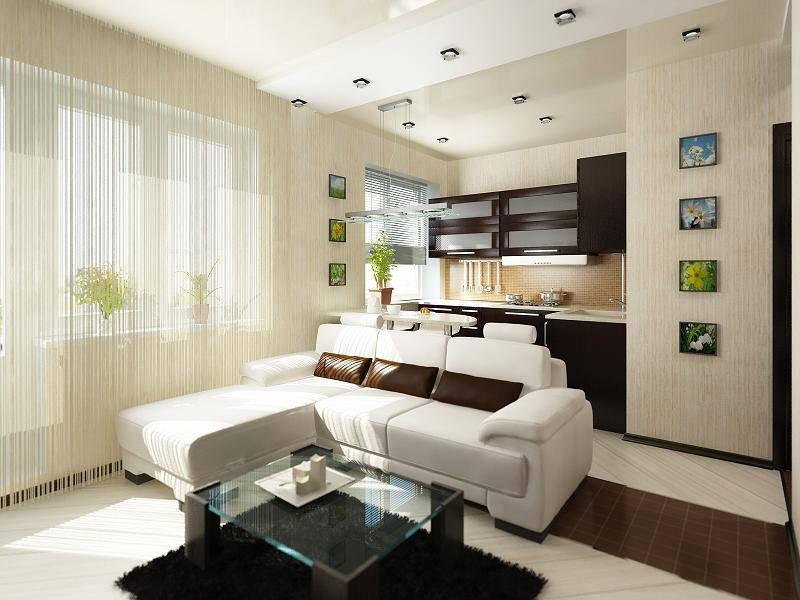Интерьер дизайн маленькой квартир кухня студия фото