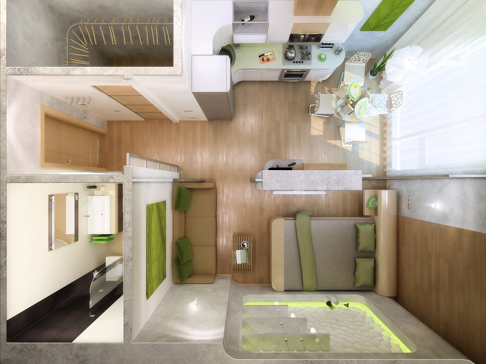 Пример дизайна квартиры студии 18 квм