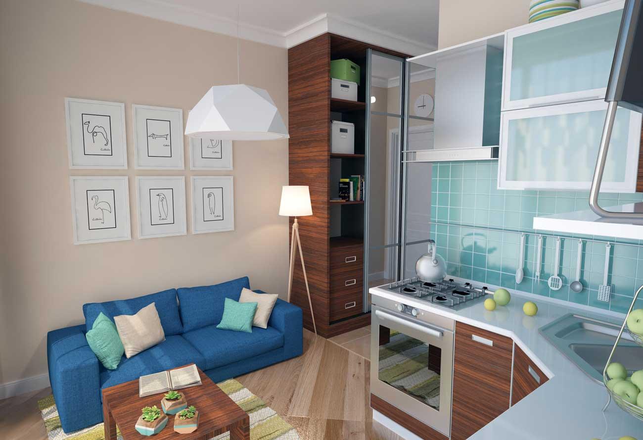 Дизайн студии 21-22 кв. метра (37 фото): интерьер квартиры с.