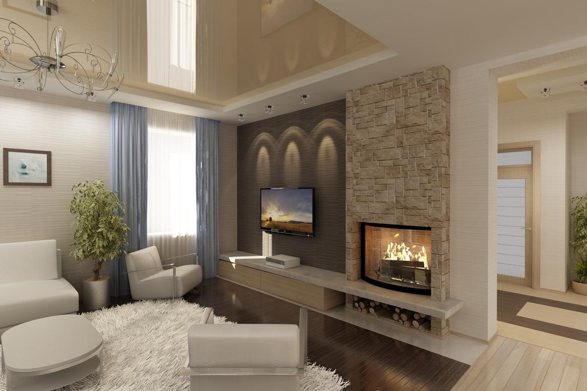дизайн комнаты с камином в квартире фото 6