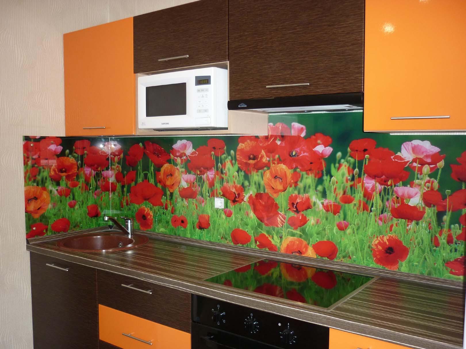 Фотопечать на кухонный фартук фото цветы
