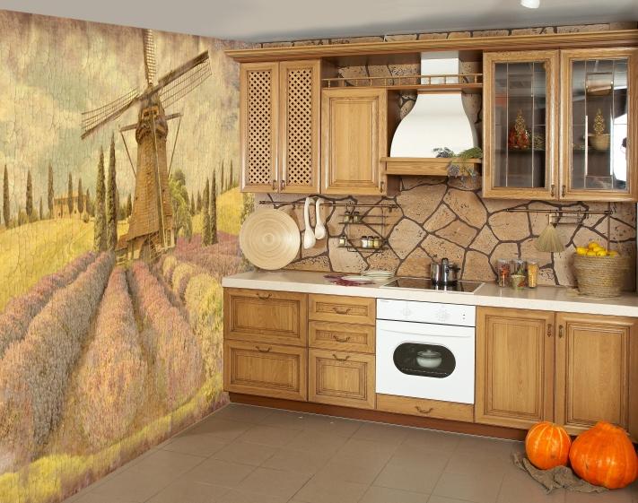Фотообои для маленькой кухни в интерьере фото