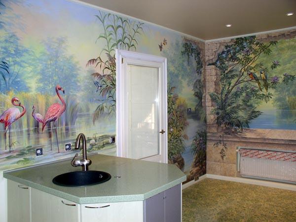 Роспись стен в кухне своими руками 50