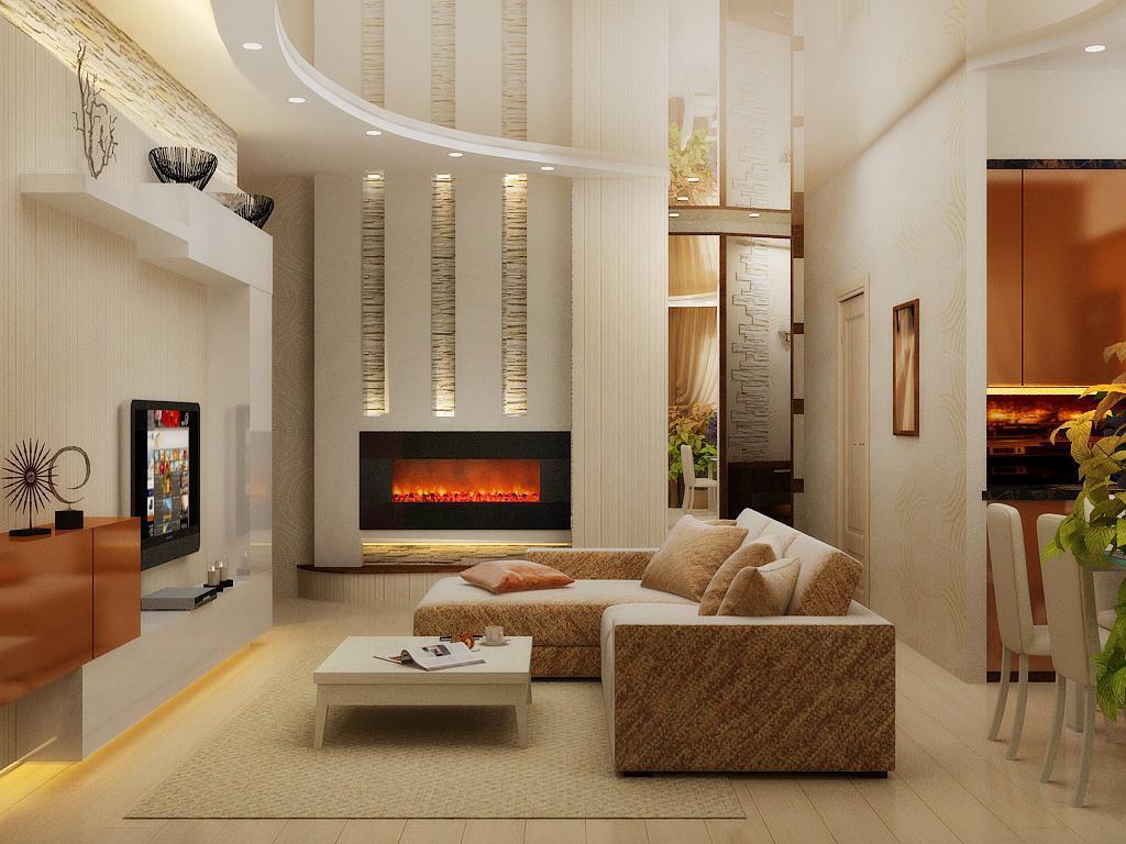 Гостиная с камином и телевизором (55 фото): как разместить ... Небольшой Дом в Стиле Хай Тек