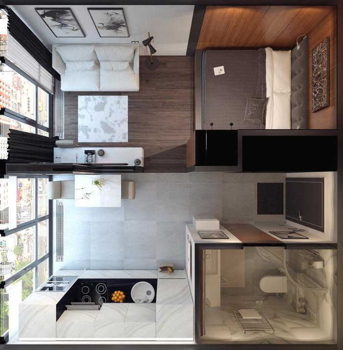 Квартира-студия 30 кв.м фото интерьер и планировка