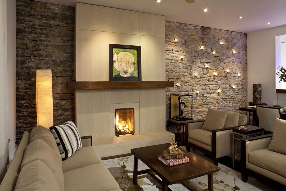 Гостиная с камнем дизайн