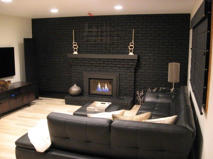 бело черная кирпичная стена в интерьере фото