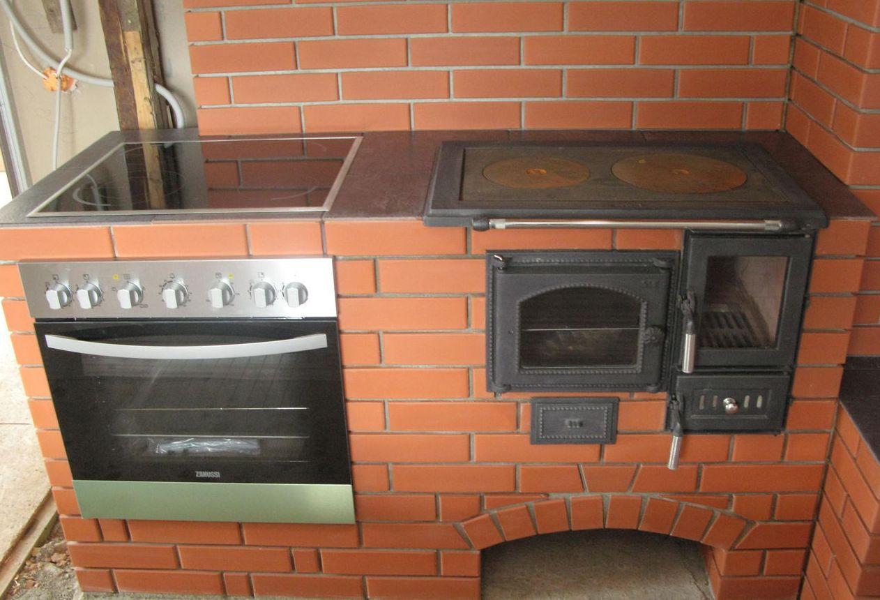 Кирпичная печь с духовкой и плитой