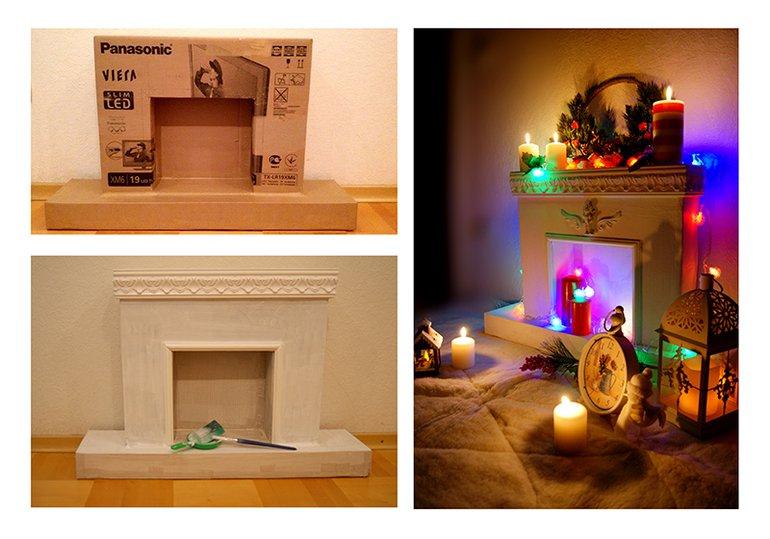 Новогодний камин своими руками из коробок пошаговая инструкция