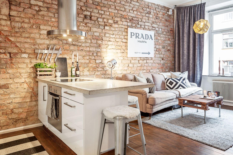 Дизайн стен в кухни фото 2018 современные идеи кирпич