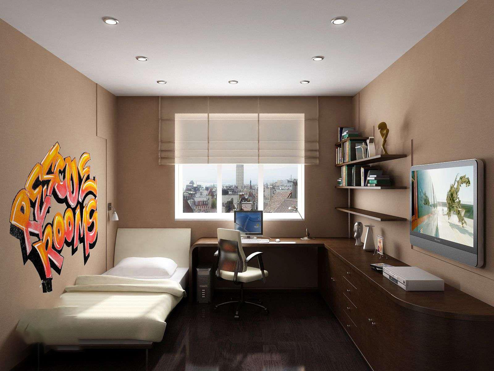 Дизайн комнаты для девочки 14 кв.м в современном стиле