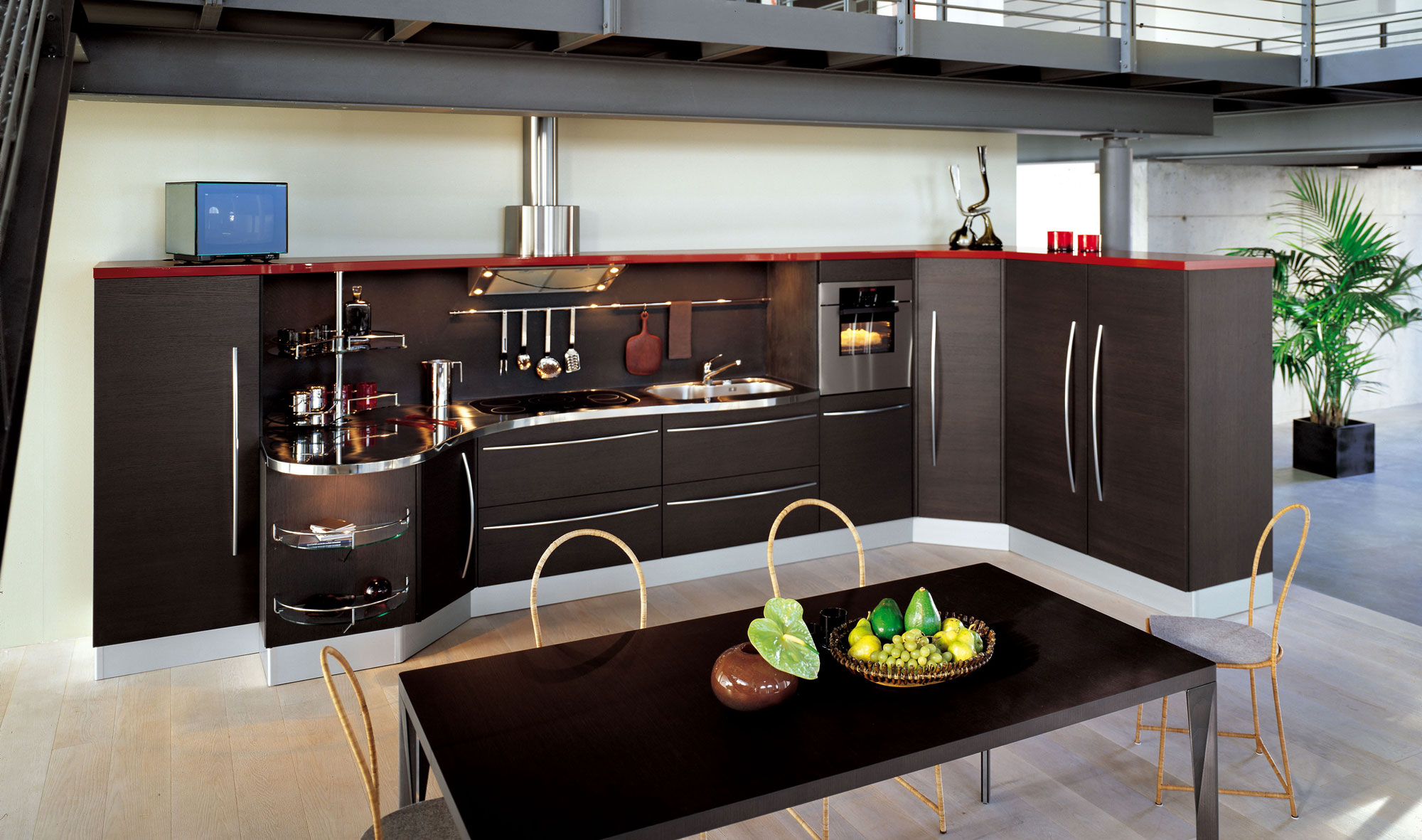 Угловая кухня без верхних шкафов дизайн