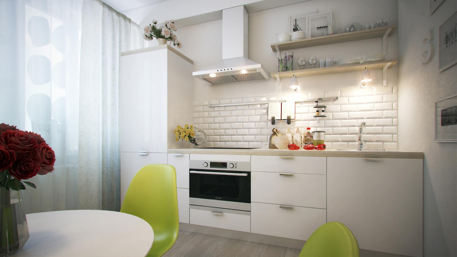 Кухня без верхних навесных шкафов: дизайн гарнитуров, фото и.