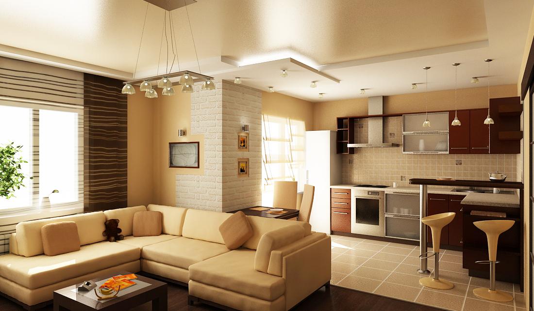 Идеи дизайна для гостиной совмещенной с кухней