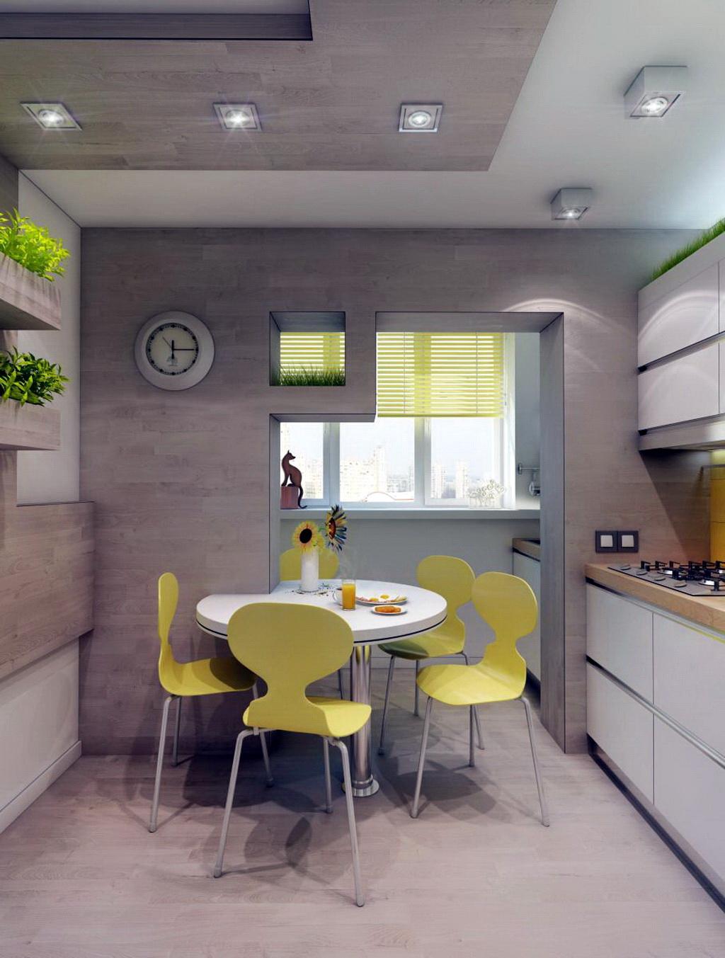 Кухня на балконе - идеи по дизайну и размещению мебели (85 ф.