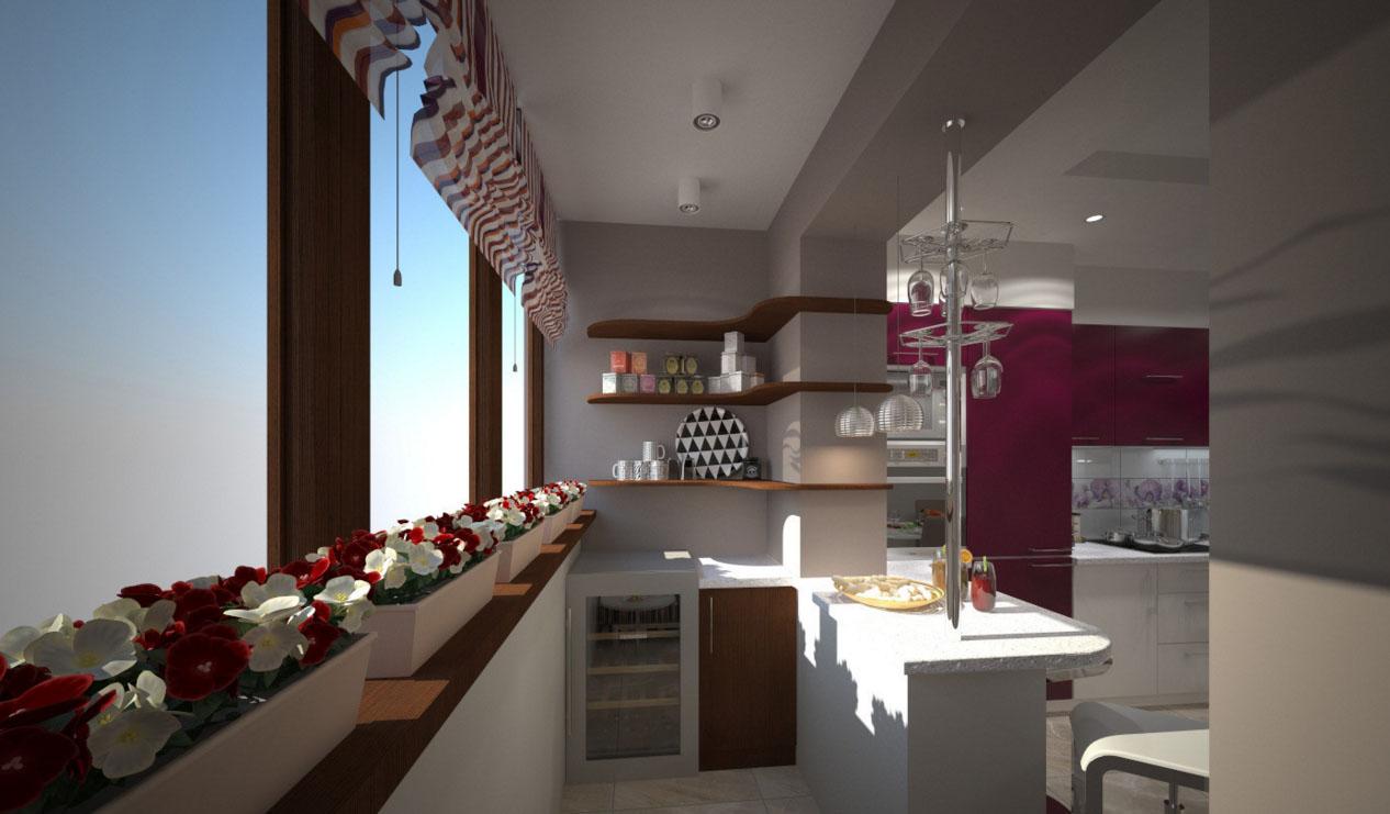 как совместить кухню с балконом фото челкой омбре предусмотрен