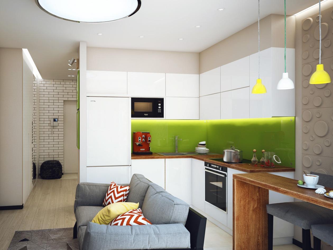 Кухня 95 квм дизайн с диваном