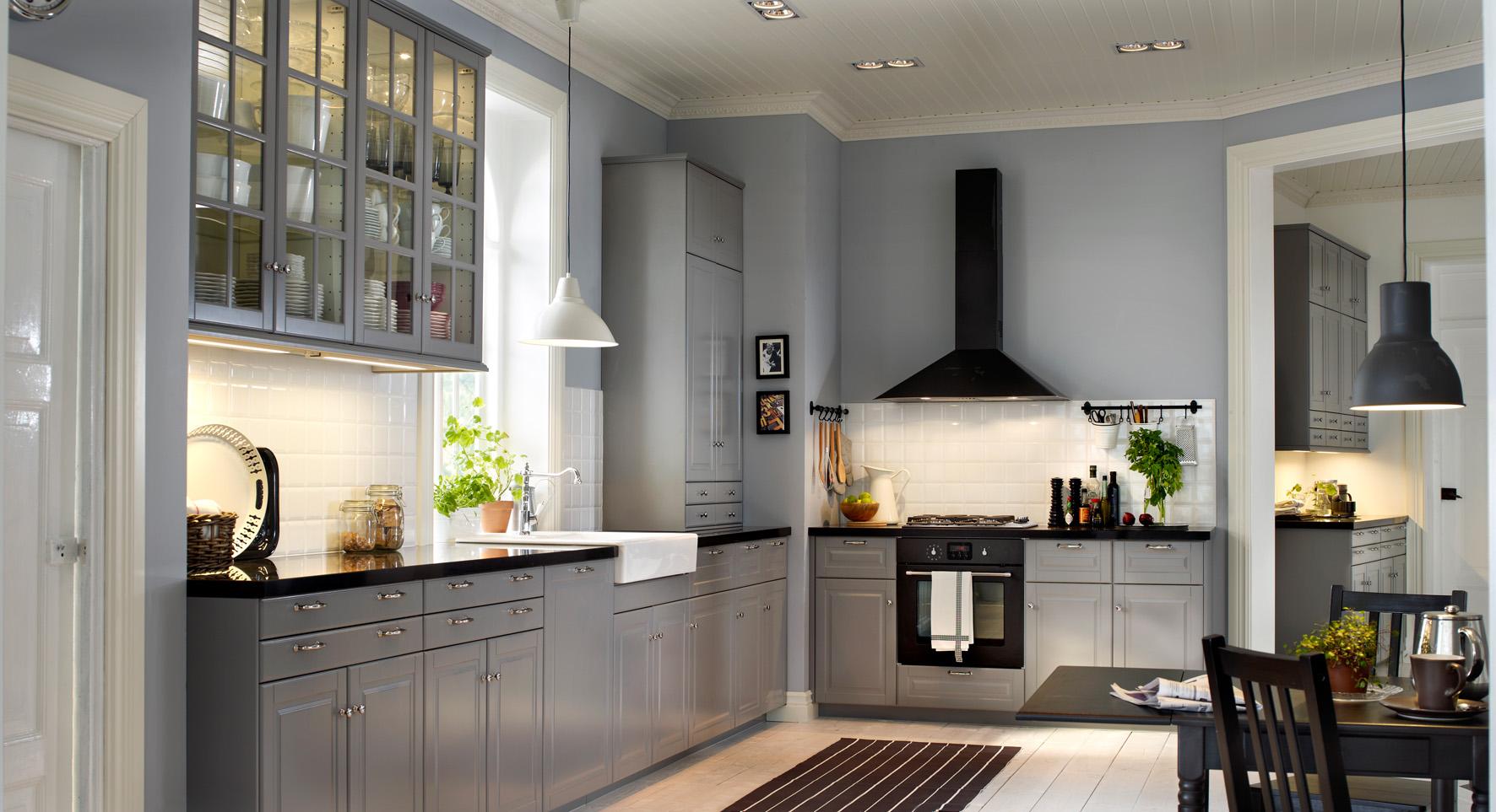 Кухня икеа серая в интерьере фото