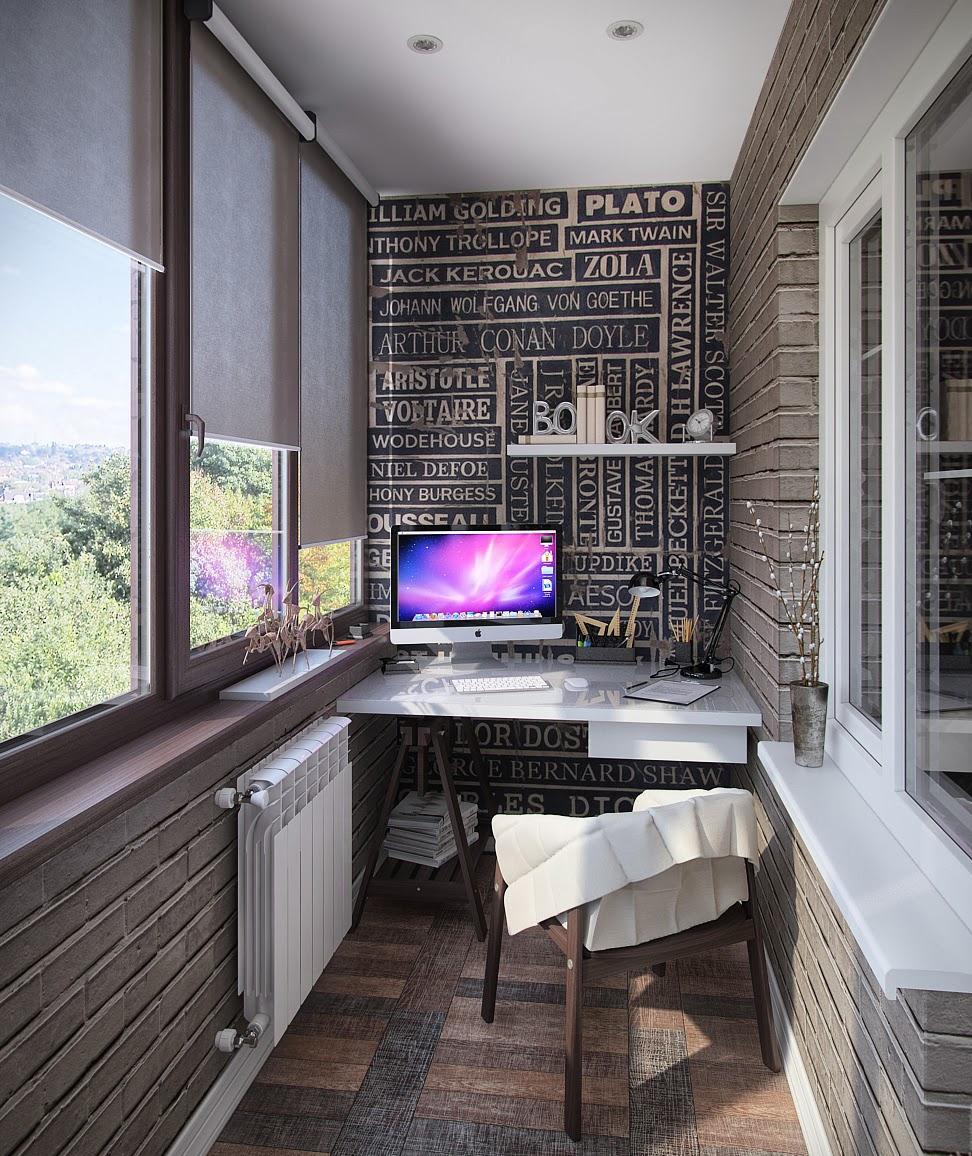 Рабочее место на балконе дизайн