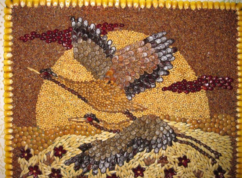Картины из круп и семян своими руками мастер класс