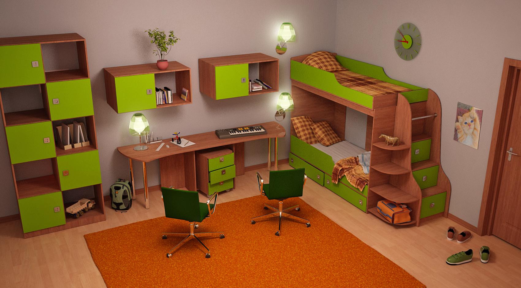 Какой должна быть мебель для детской комнаты для двоих детей.