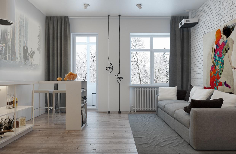 Современный дизайн маленькой однокомнатной квартиры