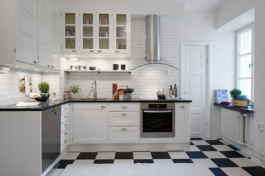 черно белая плитка на пол кухни фото дизайн